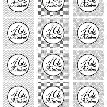 Printable 40 and Fabulous Black & Gray Birthday Cupcake Toppers, Sticker Labels & Party Favor Tags