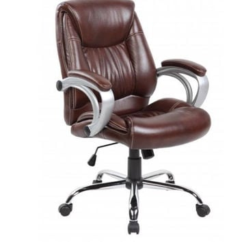 Brown Mid back PU Leather Ergonomic Office Chair with Lumbar and Arms Support