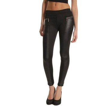 ESBON Feitong Gothic Black Leggings Women Leather Look Panel Leggings Jeggings Stretch Trousers Black Zipper Couro Do Falso #OR