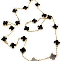 Van Cleef & Arpels Vintage Alhambra Yellow Gold 20 Motif Onyx Necklace