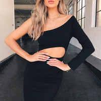 Abbi Sexy Hollow Out One Sleeve Dress