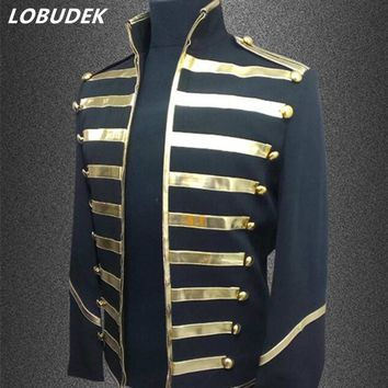 Trendy male costumes jacket blazer coat fashion slim outerwear show singer stage dancer nightclub dj stage performance wear silver gold AT_94_13