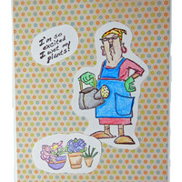 Handmade Card Lady Gardener Watering Plants, Humorous Design Suitable for Many Occasions - Birthday, Friendship, Thinking of You
