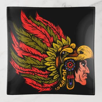 Indian Chieftain head illustration Trinket Trays