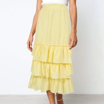 Fashion New Stripe Leisure Cake  Skirt Women Yellow