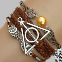 Harry Potter Bracelet--Deathly Hallows Bracelet, owl wings bracelet , Imitation Leather Braid Bracelet--Best Chosen Gift