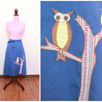 1970s Skirt / VINTAGE / Novelty Print / Owls / Patchwork / Wrap-around