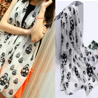 New Nice Unique Voile Skull Printed Infinity Scarf from threelittlebirds