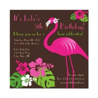 Pink Flamingo Birthday Invitation from Zazzle.com