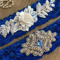 Wedding Garter Set, White flowers Royal Blue wedding garter, Bridal Gift Garter set Rhinestone garter lace garter Rustic Garter toss Garter