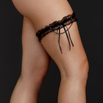 Plus Size Lace Garter with Ribbon Tassel