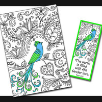 Bird 5x7 Card and Bookmark Doodle Set