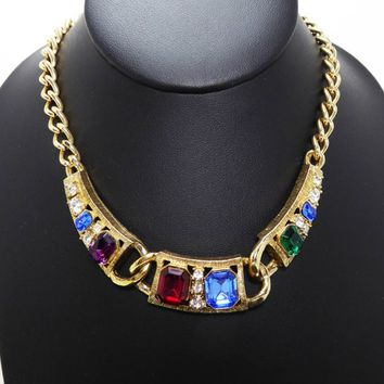 Jewel Tone Chunky Choker Necklace - Red, Blue, Green & Clear Rhinestones - Vintage 1980s 1990s Large Rhinestone Retro Jewelry