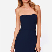 All Obstacles Com-Pleated Navy Blue Strapless Dress