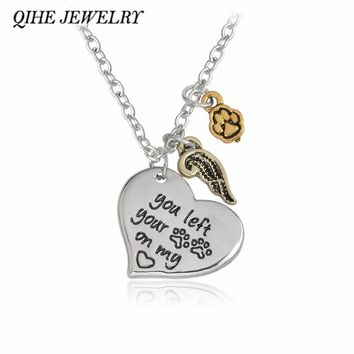"""Dog """"you left your paws on my heart"""" Angle Wing Paw Print Heat Charm Necklace Personalized Dog Paw Print Jewelry"""