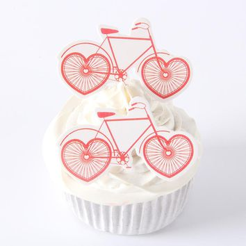 30pcs/pack Love Heart Bicycle Cupcake Topper Theme Cartoon Party Supplies Kids Boy Birthday/Wedding Party Decorations