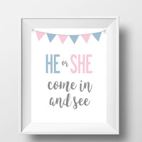 "Gender Reveal Party Decoration DIGITAL DOWNLOAD 8"" x 10"" Printable Sign 