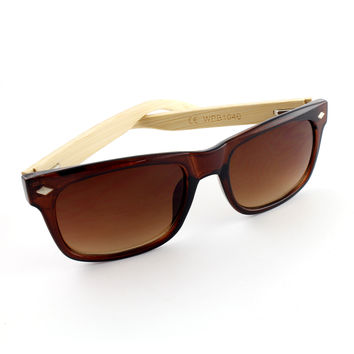Brown and Bamboo Wayfarer Sunglasses