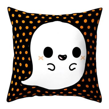 Cute Ghost Pumpkin Throw Pillow Cover Polyester Peachskin Cushion Cover Square Pillowcase for Bedroom Home Decoration 45x45cm