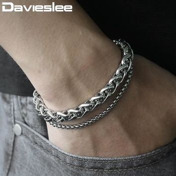 Davieslee Double Chains Bracelets for Men Wheat Curb Cuban Link Polished Mens Bracelet Chain Stainless Steel Jewelry 8mm LDBM01C
