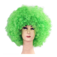 Fashion Afro Cosplay Curly Clown Party 70s Disco Cosplay Wig Cheering Squad Clown   Green