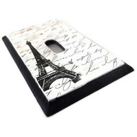 Paris Eiffel Tower Wood Switch Plate by HookUUpCustomCrafts