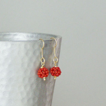 Dangle  coral  and gold earrings , sterling gold plated and coral earrings, slightly dangly