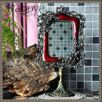 European with antique mirror frame vanity mirror antique framed mirror for home decoration makeup vanity J024