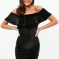 Missguided - Black Glitter Off Shoulder Dress