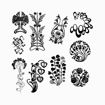 Digital Instant Download Floral Art Deco Shapes Graphics Images Clipart Clip Art Borders Decorative Ornate Flourishes Embellishments Set 6