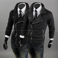 Biker Zip Slim Fit Men Fashion Sweat Jacket