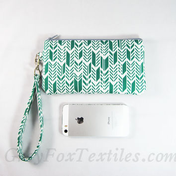 Green herringbone wristlet, clutch, id wallet emerald, arrow print, smartphone case