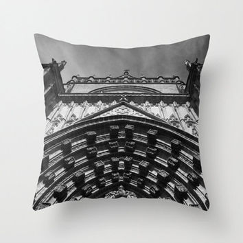 Grey pillow, grey cushion, black and white pillow, black and white cushion, cathedral, throw pillow, photo pillow, photo cushion, grey decor