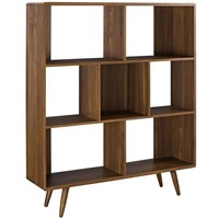 Realm Contemporary Three Tiered Bookcase Smooth Walnut