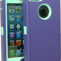 BeautyChase(TM) Iphone5/5S Defender Body Armor Case Comparable to Otterbox Defender Series (purple/light blue)