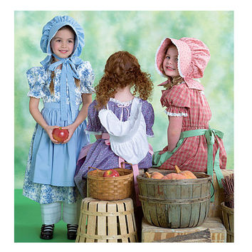 Girlls EARLY AMERICAN PILGRAM Dress Pattern Costume Historic Reenactment Dress McCalls 4547 Size 3 4 5 6 UNCuT Toddler Girls Sewing Patterns