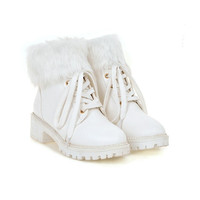 Lace Up Fur Women Ankle Boots Low Chunky Heel  6961