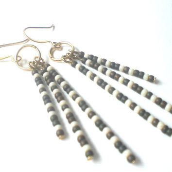 Boho Long Dangle Earrings in Camo - Earth Tone Beaded Earrings