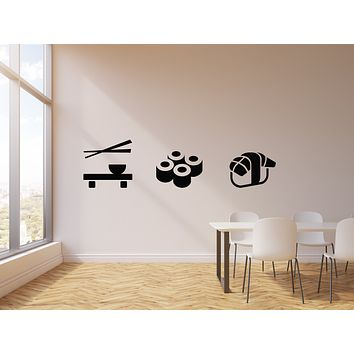 Vinyl Wall Decal Japanese Cuisine Kitchen Asian Food Sushi Rolls Bar Stickers Mural (g551)
