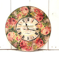 Large Wall Clock Red Roses Country Decor Shabby Chic Vintage Style Clock