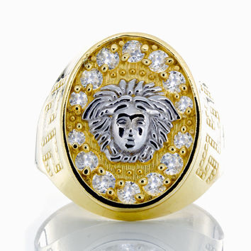 10K Yellow Gold Oval Versace Ring with CZ & Beaded Greek Key Shoulders.