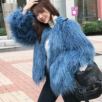 Chic Bomber imitation Mink Fur Coat wool Long Hair Jacket Faux Fox Fur Cardigan High Waist wool long fur Outwear 2018