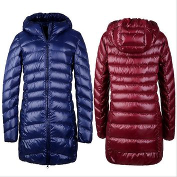 Womens Winter down Coats goose feather overcoat snowimage Ultra Light Duck Down Jacket with hood campera Long Berief Parkas XXXL