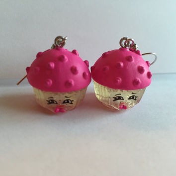 Shopkins Foodie Earrings - Mary Muffin [glitter] - made with repurposed toys