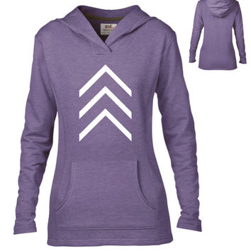 Misc Clothing - Chevron Arrows Semi-Fitted Lightweight Pullover Hoodie - Ladies