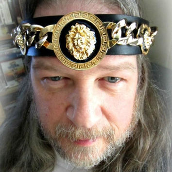Kings Crown Golden Lion Headpiece, Black Leather Headband, Burning Man, Ren Fair, Ready to Ship