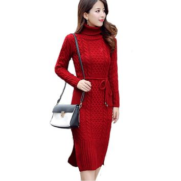 New Women Winter Sweater Dress Soild Turtleneck Thick Long Sleeve Silm Office Lady Long Robe Knitting Luxury Women Dress