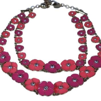 Kate Spade New York Pink/Purple Flutter Floral Double Strand Necklace