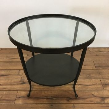 Contemporary Metal Two-Tier Glass Top End Table, maker unknown