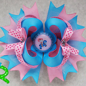 Sheriff Callie Hair Bow, Boutique Ott  Bow, Sheriff Callie layered bow for girls , Stacked Bow
